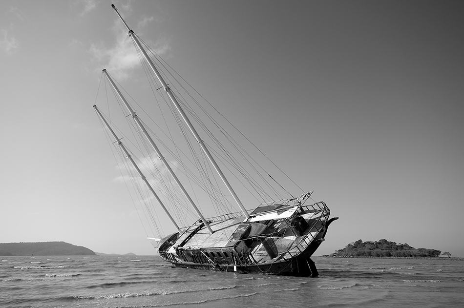 a tilting boat in a storm