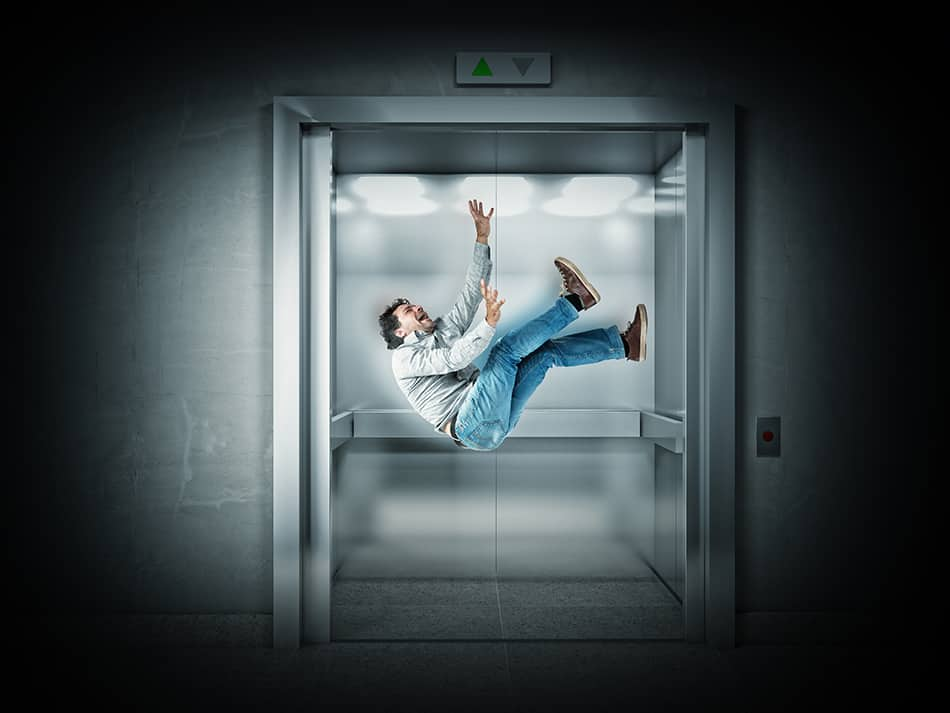 being in a falling elevator