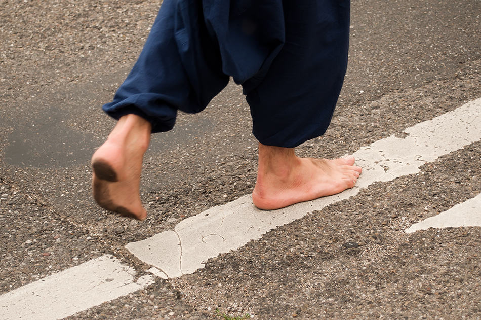 walking without shoes