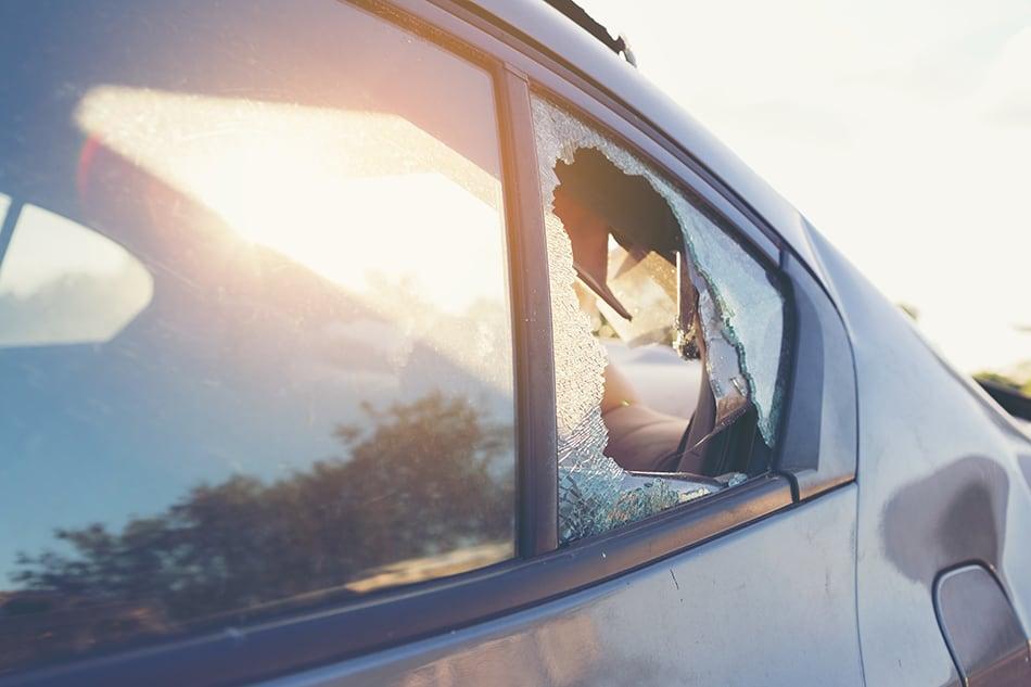 Dream of broken glass car window