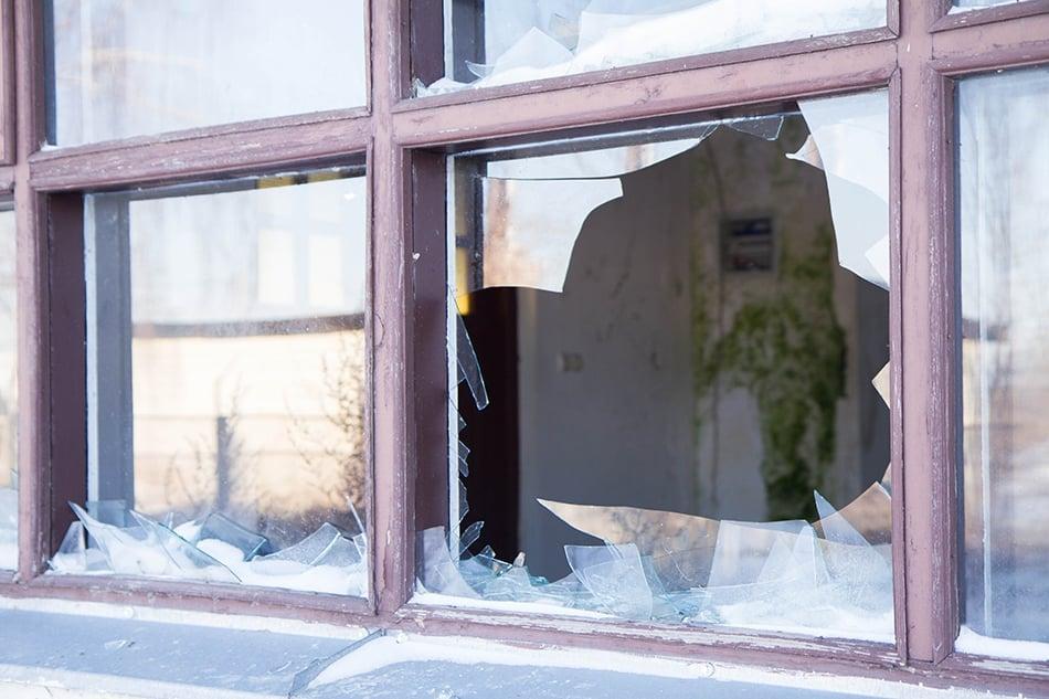 Dream of broken glass window