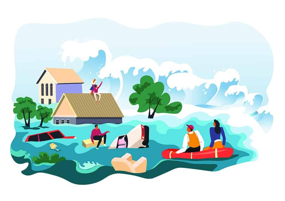 Dreaming of tsunami flood destroying your belongings